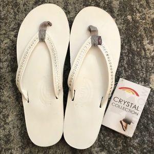 White Crystal Rainbow Sandals